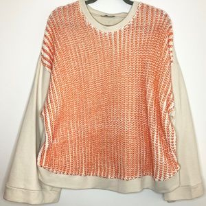 Zara Orange Painted Bell Sleeve Sweater Sweatshirt